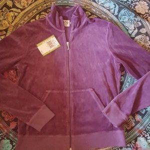 Juicy Couture Purple Velour Jacket Top New XL L